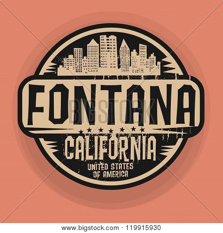Stamp Or Label With Name Of Fontana, California