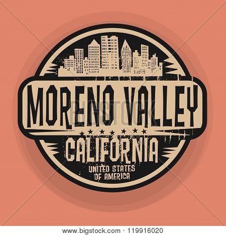 Stamp Or Label With Name Of Moreno Valley, California