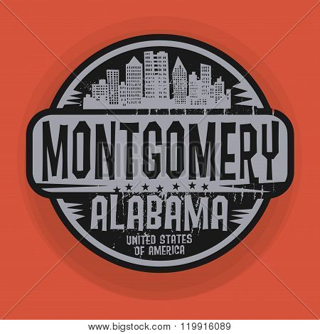 Stamp Or Label With Name Of Montgomery, Alabama