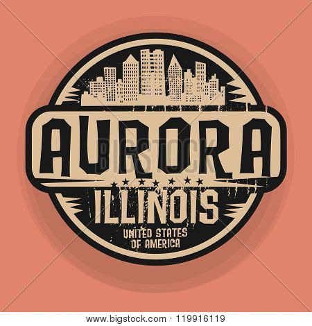 Stamp Or Label With Name Of Aurora, Illinois