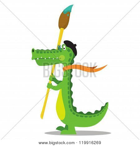 Cartoon crocodile painter with brush in beret