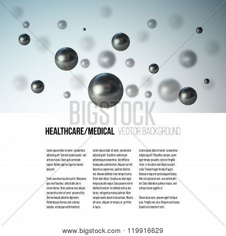 Medical scientific cell. Abstract graphic design of molecule structure, vector background for brochu