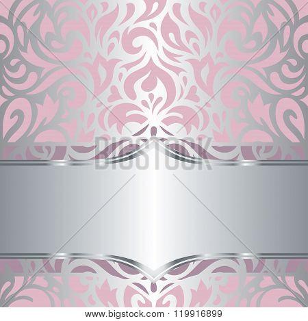 Floral pink & silver invitation vintage retro vector design