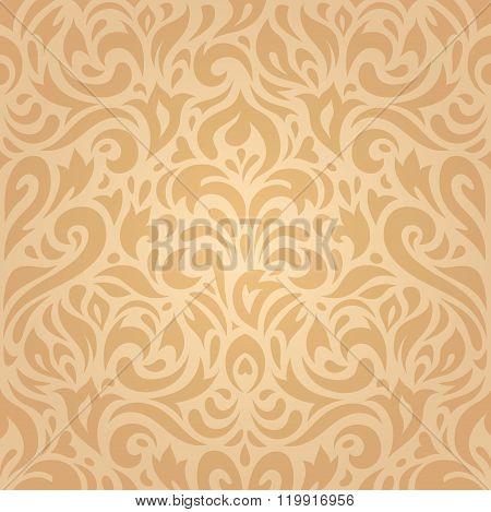 Floral retro ocher vintage background design
