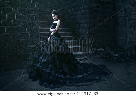 Attractive woman in black dress