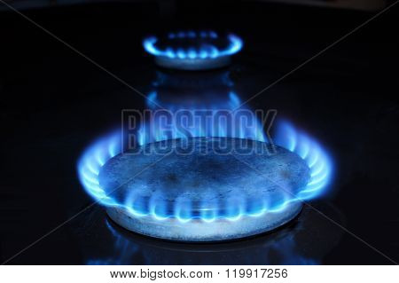 Fire Of Natural Gas In The Dark.
