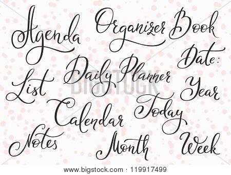 Agenda Calendar Title Lettering Set