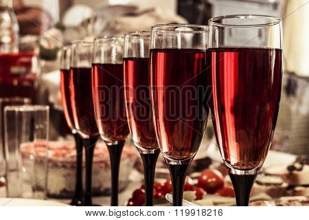 Blurred background wine glasses