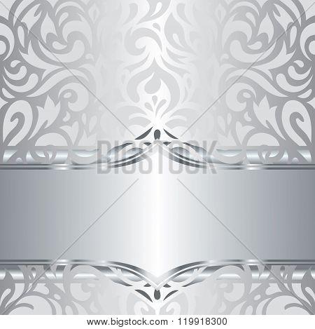 Shiny silver floral holiday vintage invitation background design