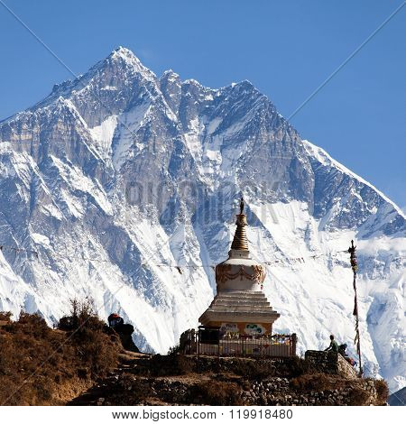 Stupa Near Namche Bazar And Mount Lhotse South Rock Face
