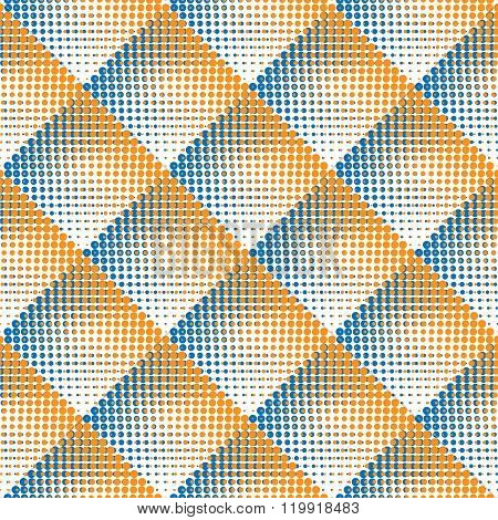 Vector Seamless Blue And Orange Stippling Rhombus Gradient Halftone Circle Dot Work Pattern Abstract Background