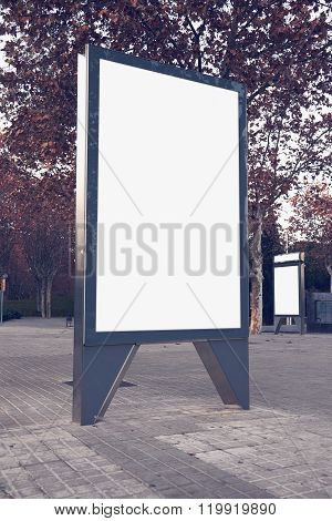 Photo empty lightbox on the bus stop. Vertical mockup