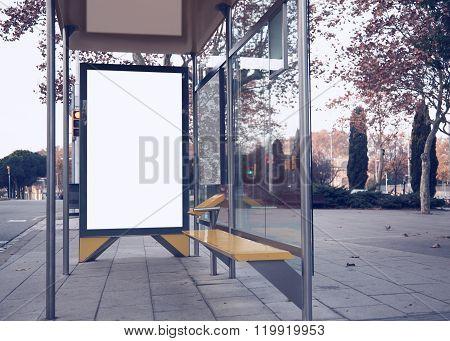 Photo empty lightbox on the bus stop. Horizontal mockup