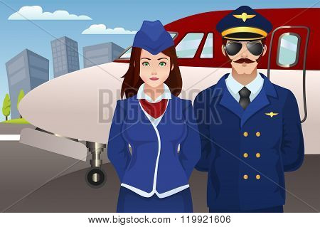 Pilot And Flight Attendant In Front Of The Airplane