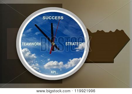 Business Concept Time To Success With Text Strategy, Teamwork, Kpi In Sky