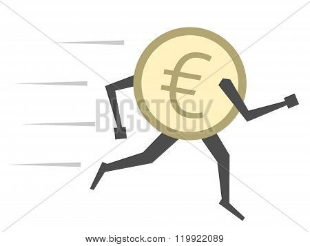 Euro Coin Running Isolated