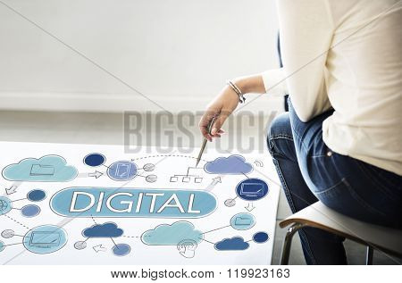 Digital Electronic Advanced Technology Share Concept