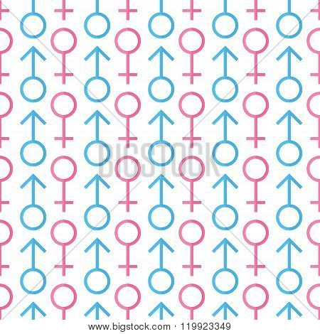 Male and female gender icons seamless pattern background.