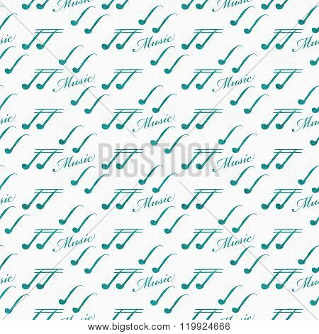 Teal And White Music Symbol Tile Pattern Repeat Background