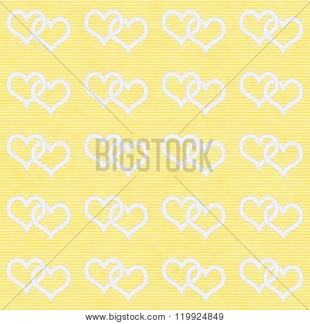 White Interwoven Hearts And Yellow Thin Stripes Horizontal Textured Fabric Background