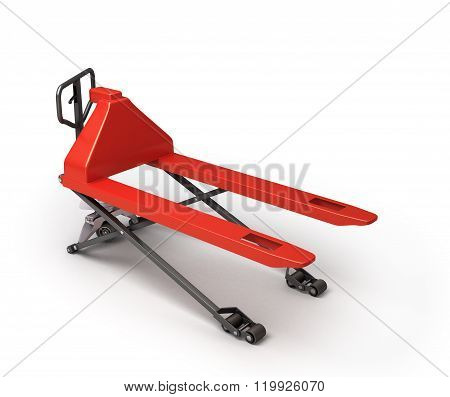 Hand Pallet Truck In The Raised Position Isolated On White Background