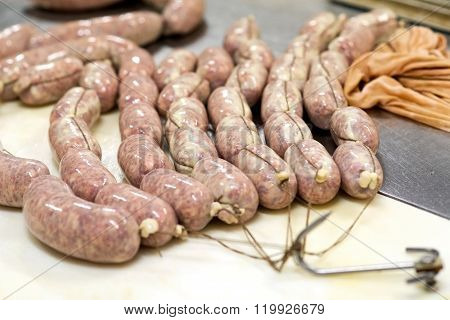 Fresh Young Salami Ready To Be Hung To Dry