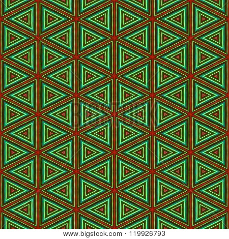 Seamless African Colorful Ornamental Triangular Pattern On Fabric Or Carpet