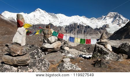 Mount Cho Oyu With Prayer Flags