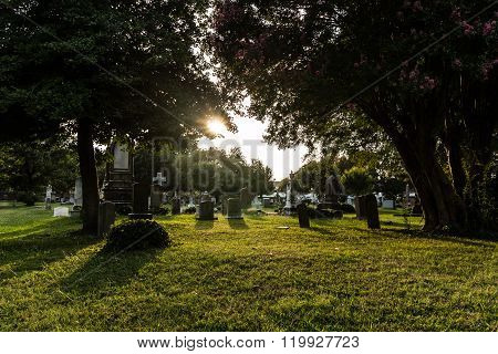 Civil War Cemetery Tombstones at Dusk