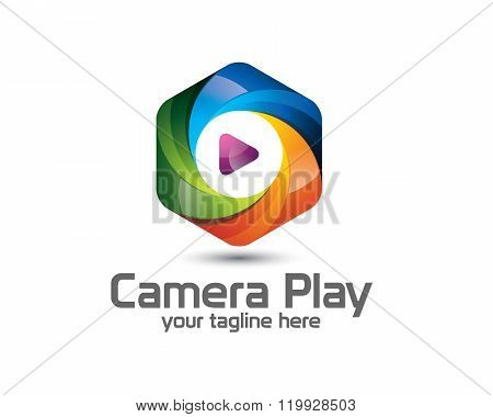 3D Camera Photography Logo Design. Colorful  3D Photo Logo Vector Template. Camera Play Concept With