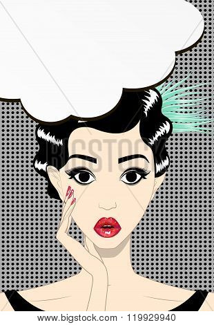 Thinking Young Brunette Woman Pop Art, Surprised Face With Open Mouth, Vector Illustration