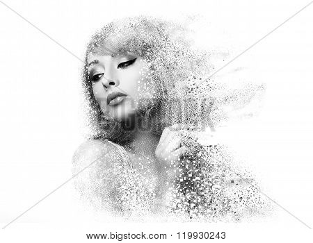 Fashion Makeup Woman With Pixeled Dispersion Effect. Art Closeup Portrait Isolated On White Backgrou