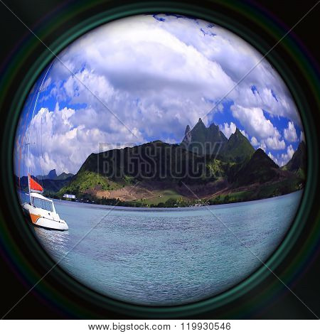 Lonely Catamaran Floating Near The Mauritius Island In The Camera Objective, Fisheye Lens Effect