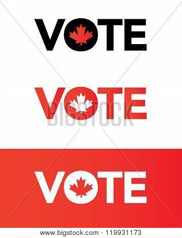 Vector Canada Vote Wordmark in Color, Black and Reverse