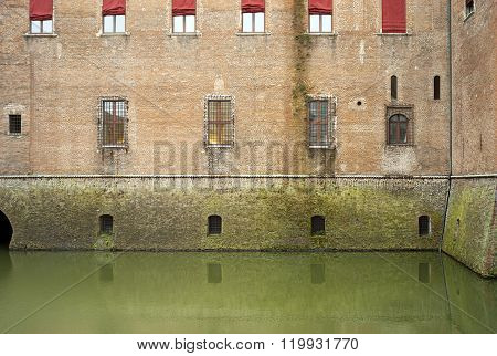 Ferrara, the Estense Castle detail. Color image