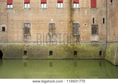 Ferrara, the Estense Castle detail. Color image