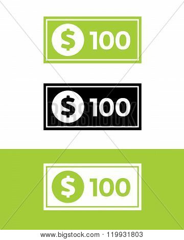 Vector Hundred Dollar Bill Set in Color, Black and Reverse