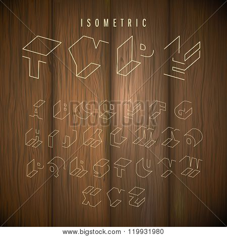 wood background isometric alphabet