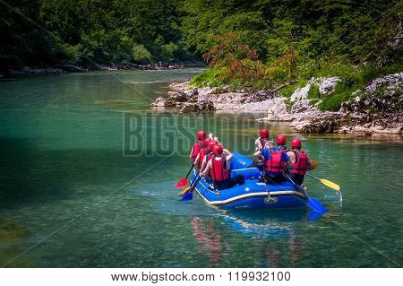 Group of tourists in the inflatable raft