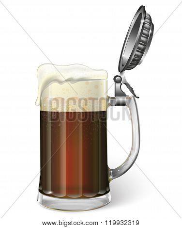 Mug of ale. Dark, dark beer. Vector