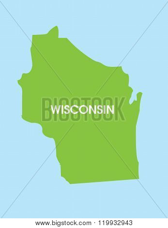 Vector Map of Wisconsin USA