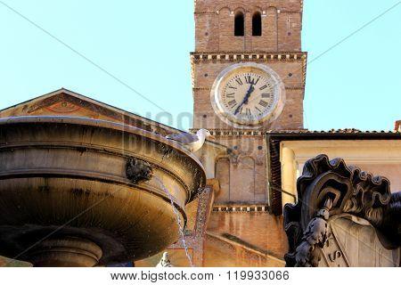 Piazza Santa Maria in Trastevere - Rome Italy