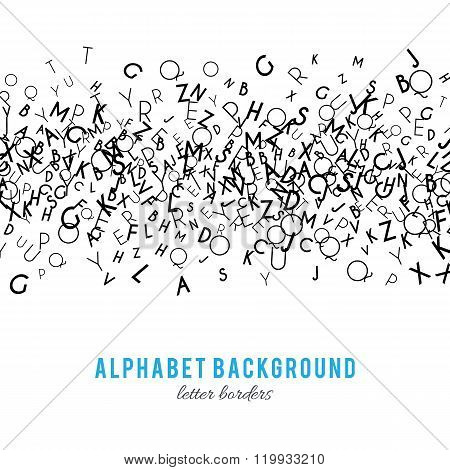 Abstract black alphabet ornament frame isolated on white background