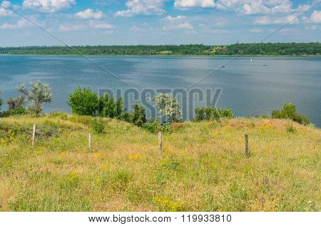 Rural landscape with river Dnepr at summer season