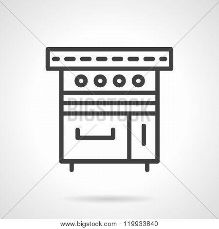 Kitchen stove black line design vector icon