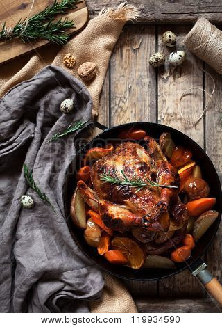 Barbecued chicken, crispy brown skin stuffed with vegetables