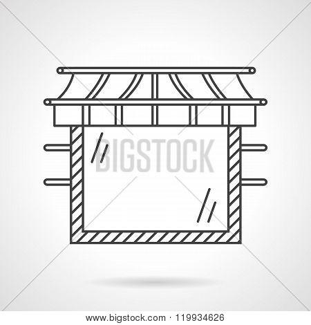 Glass showcase flat line design vector icon