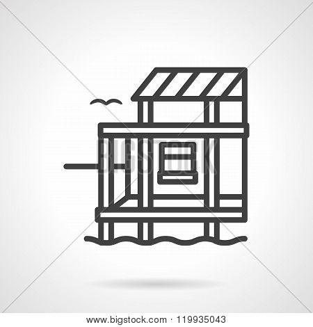 Riverside cottage black line design vector icon