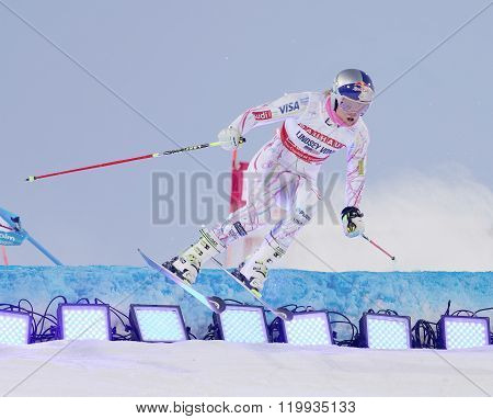 Lindsey Vonn Jumping At A Slalom Event