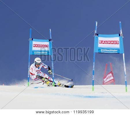STOCKHOLM SWEDEN - FEB 23 2016: Victor Victor Muffat-Jeandet (FRA) skiing at the FIS Alpine Ski World Cup - city event February 23 2016 Stockholm Sweden